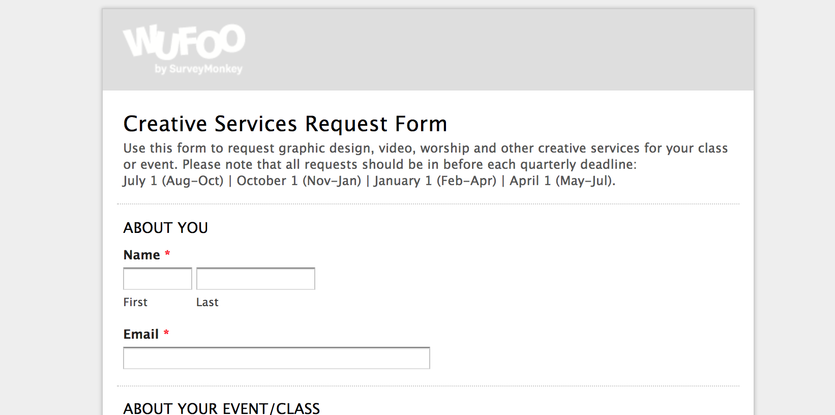 Creative Services Request Form