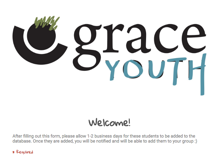 GraceYouth New Student Form
